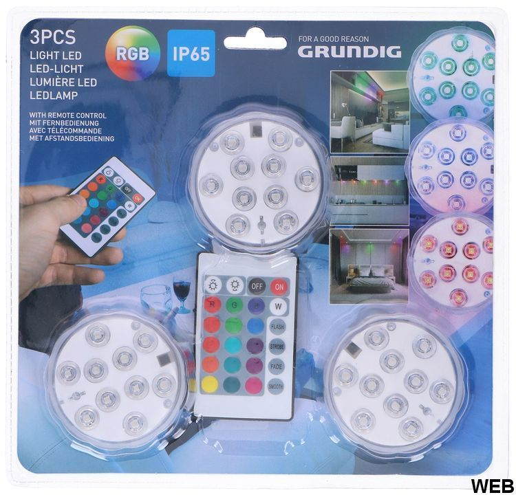 Set of 3 RGB LED lights in ABS IP65 with remote control ED5056