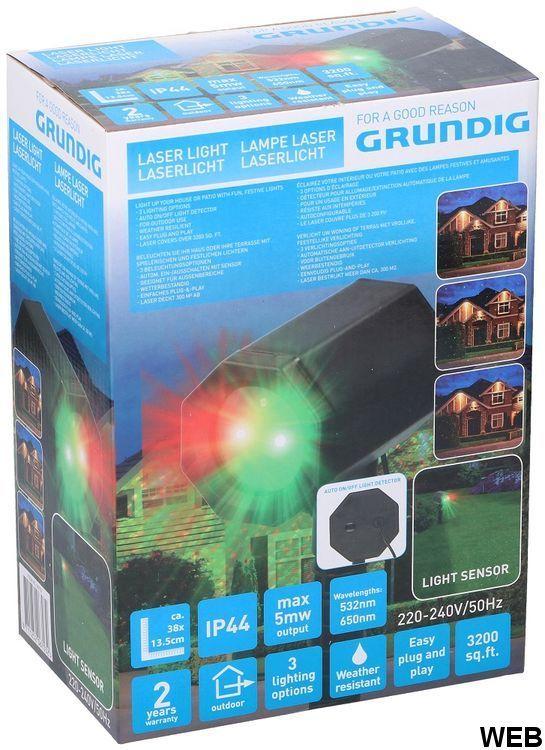 Laser light effect with Grundig IP44 motion detector ED5208 Grundig