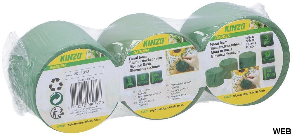 Kit 3-piece floral foam cylinder 7.5x6cm Kinzo ED5262 Kinzo