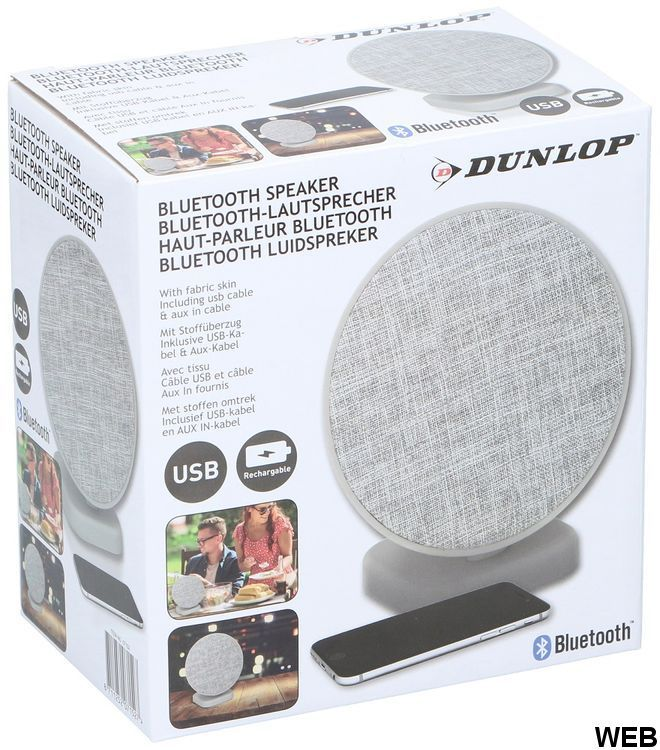 Dunlop 2x3W light gray fabric Bluetooth speaker ED5328 Dunlop