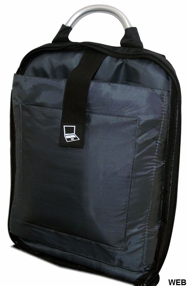 Padded multi-function backpack with blue-black USB combination MOB1040