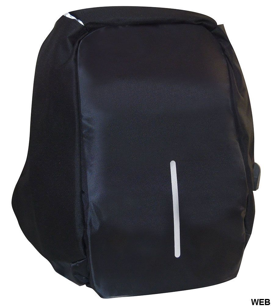 Anti-theft multi-purpose padded reflector backpack, black MOB1050