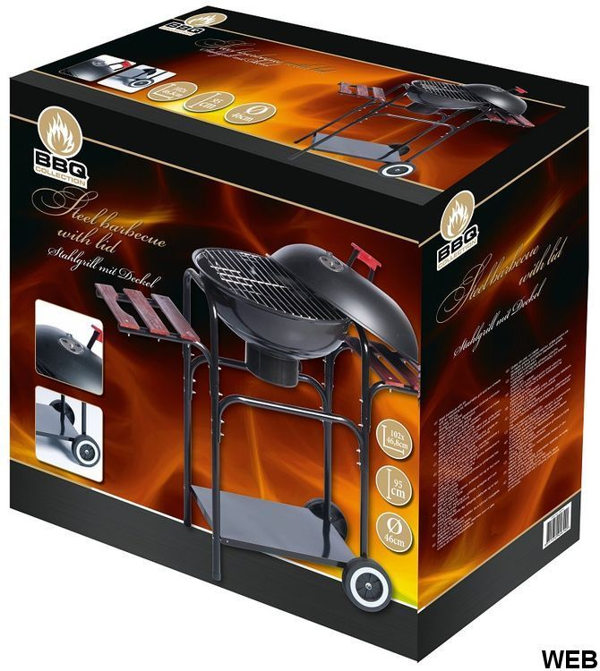 Coal steel barbecue with lid 102x46.8x95cm Bbq Collection ED5416 Bbq Collection