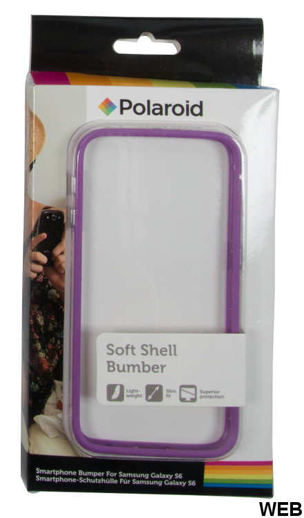 Transparent back cover with purple colored Samsung Galaxy S6 Polaroid frame MOB1131 Polaroid