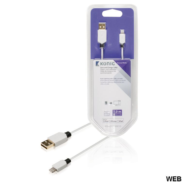 Synchronization and Charge Apple Lightning - USB A Male 1.00 m White KNM39300W10 König