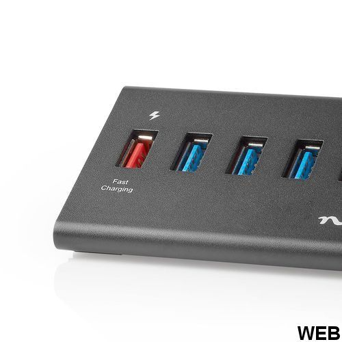 USB Hub 5 Ports USB 3.0 Powered Charging Port QC3.0 - 5 Gbps Aluminum UHUBUP3510BK Nedis