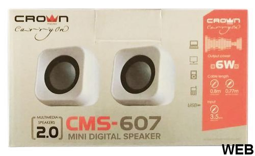 Mini speaker 2x 3W white Crown Micro CMS-607-W Crown Micro