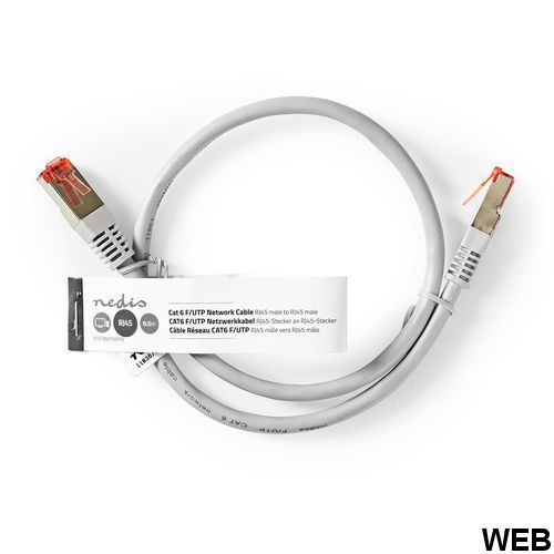 Network cable Cat 6 F / UTP RJ45 (8P8C) male - RJ45 (8P8C) male 0.5 m Gray ND1455 Nedis