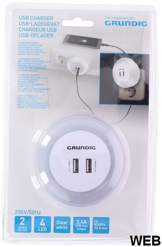 2x USB 2.4A charger with Grundig white night light ED4266 Grundig