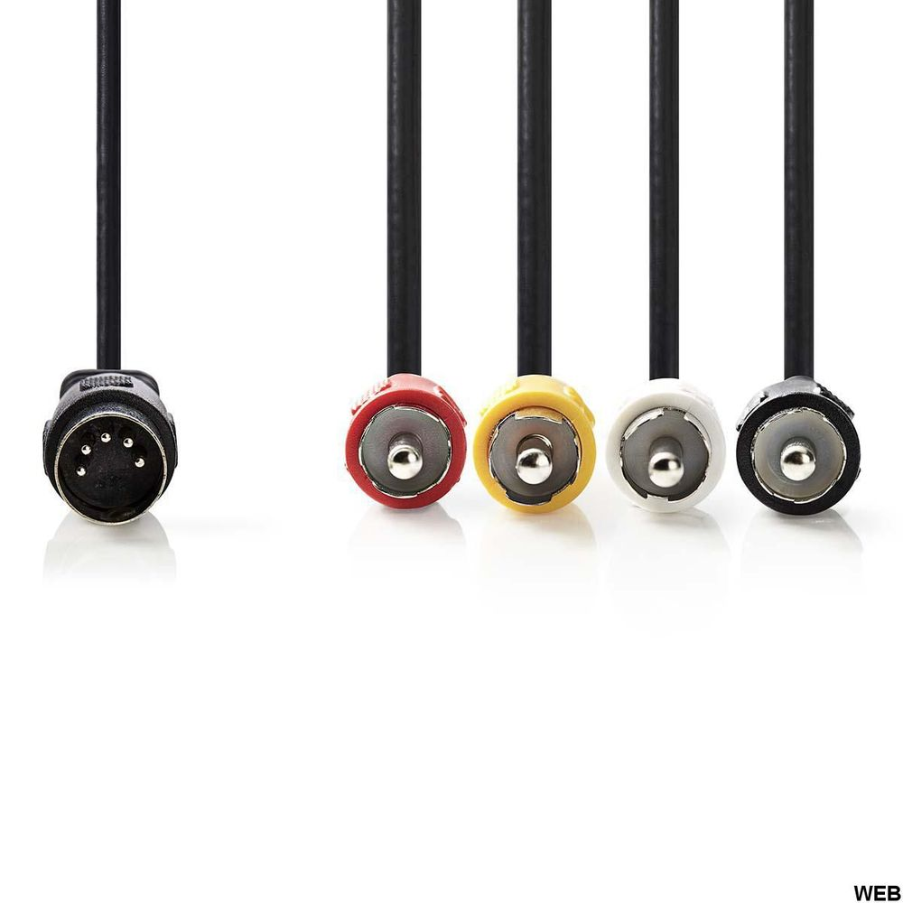 Cavo audio DIN maschio DIN a 5 pin - 4x RCA maschio 1.0 m Nero ND2740 Nedis