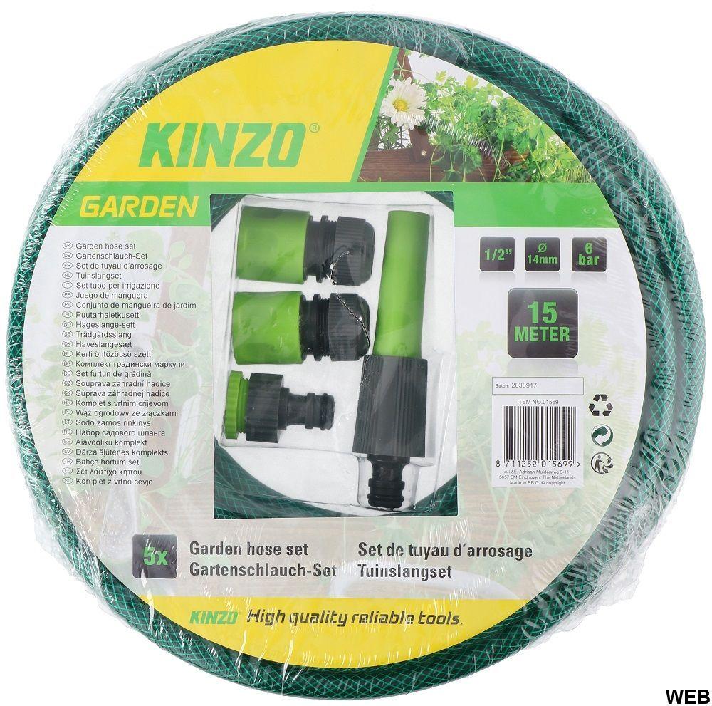 Set tubo irrigazione 15m con connettori Kinzo ED6048 Kinzo