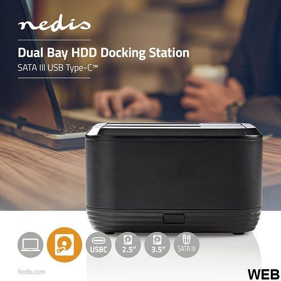 Hard disk docking station  USB Type-C  SATA  Double housing  with power adapter ND9160 Nedis