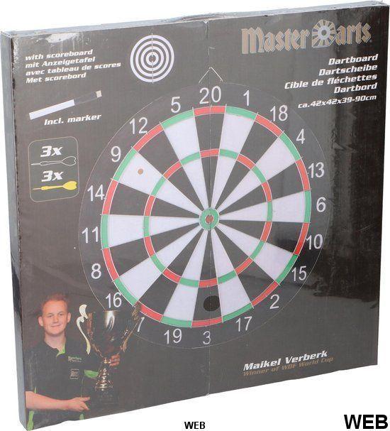 Master Freccette Dartboard - con 6 frecce, tabellone segnapunti in cartone e pennarello Masterdarts ED488 Masterdarts