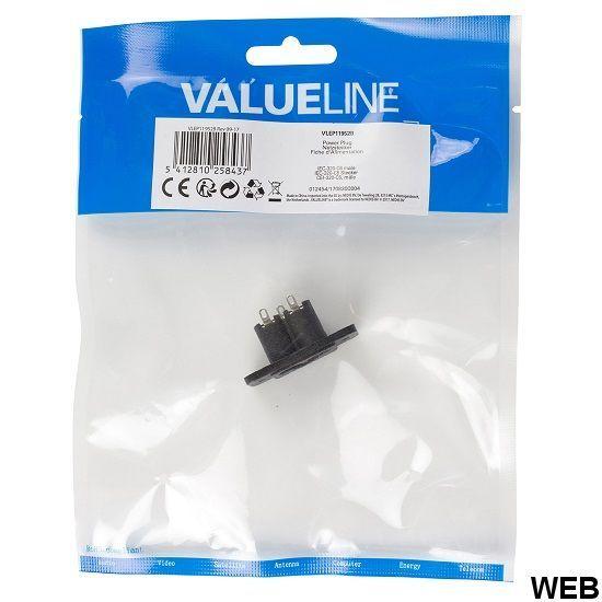 Spina di Alimentazione Maschio PVC Nero ND2578 Valueline
