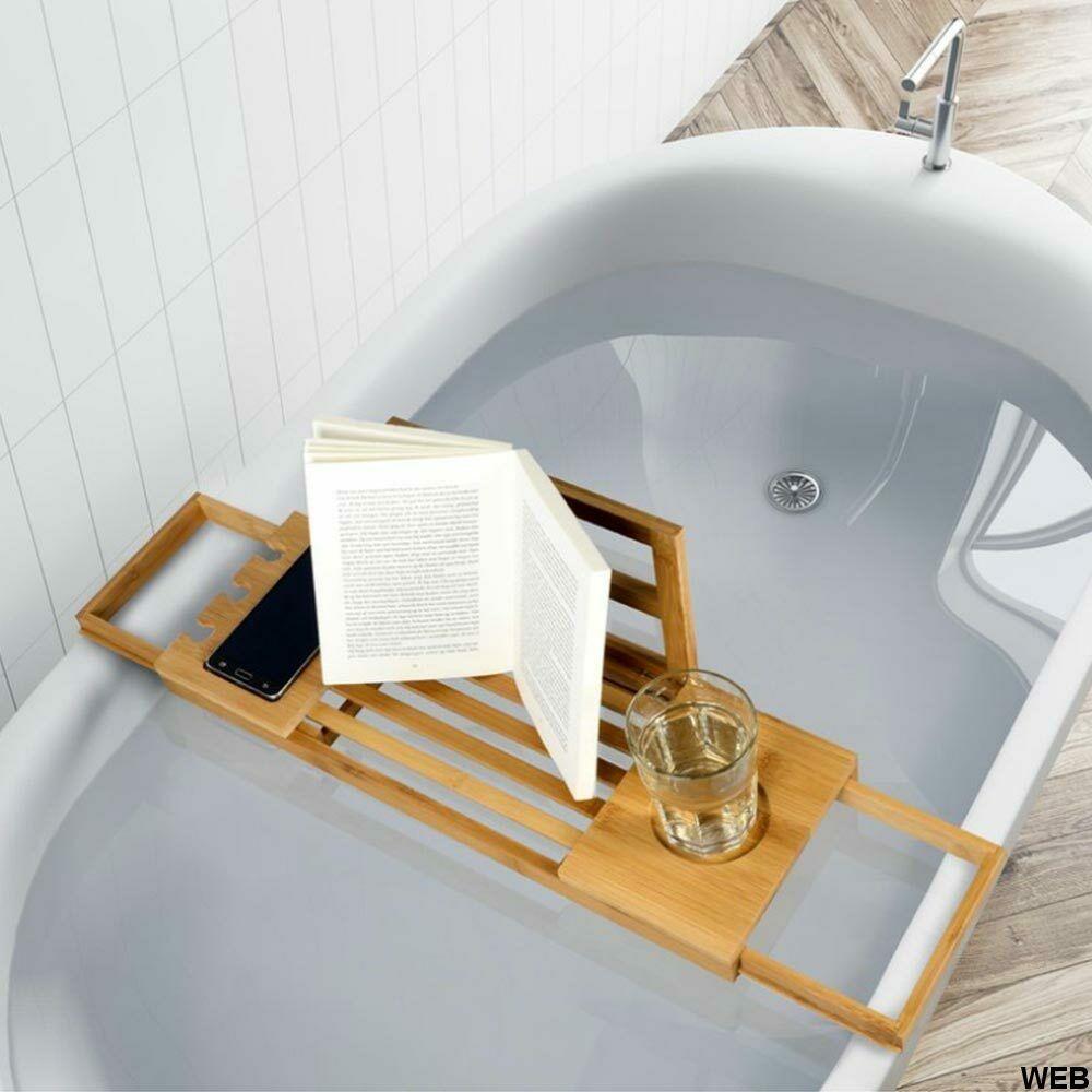 Vassoio regolabile per vasca da bagno in bambù con supporti e leggio ED300