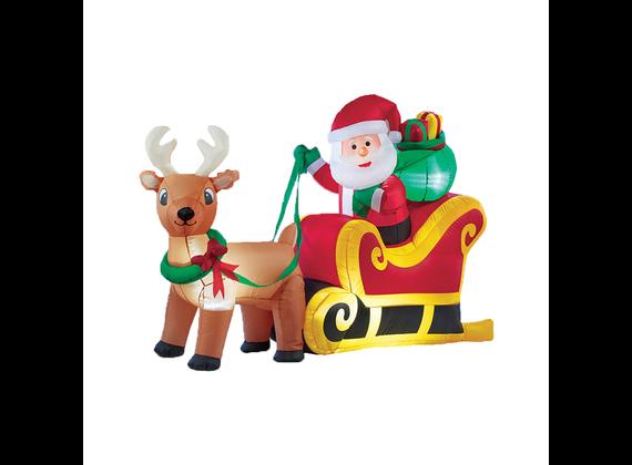 Babbo Natale luminoso gonfiabile in slitta con renna 180cm Christmas Gift ED472 Christmas Gift