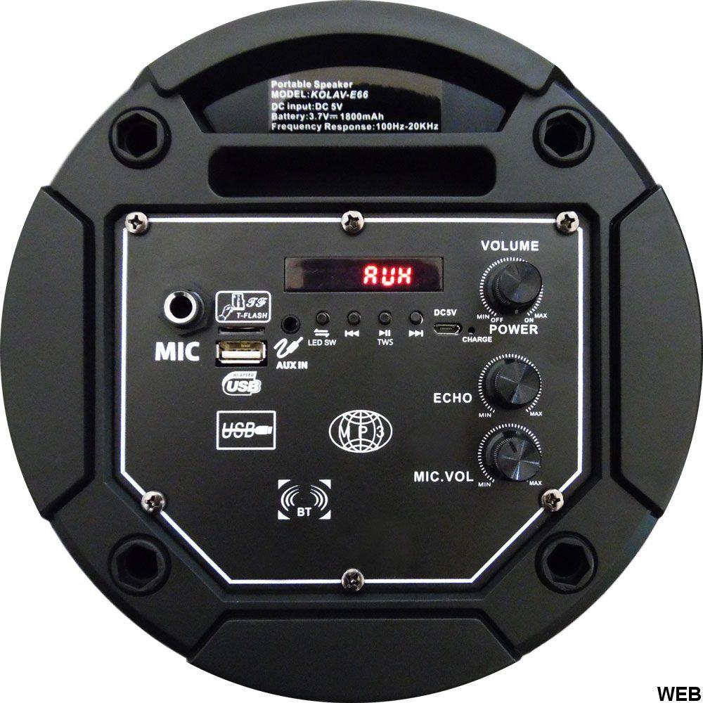 "Cassa acustica 2x 6.5"" 10W Batteria Effetti LED Bluetooth/SD/USB/Radio KOLAV-E66 KOLAV-E66"