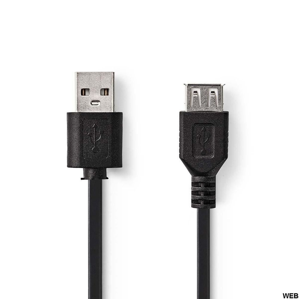 Cable USB 2.0 A Male - USB A Female 1m Black ND1106