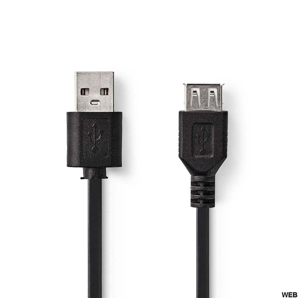 Cavo USB 2.0 A Maschio - USB A Femmina 3m Nero ND1127 Brand:E[Nedis]