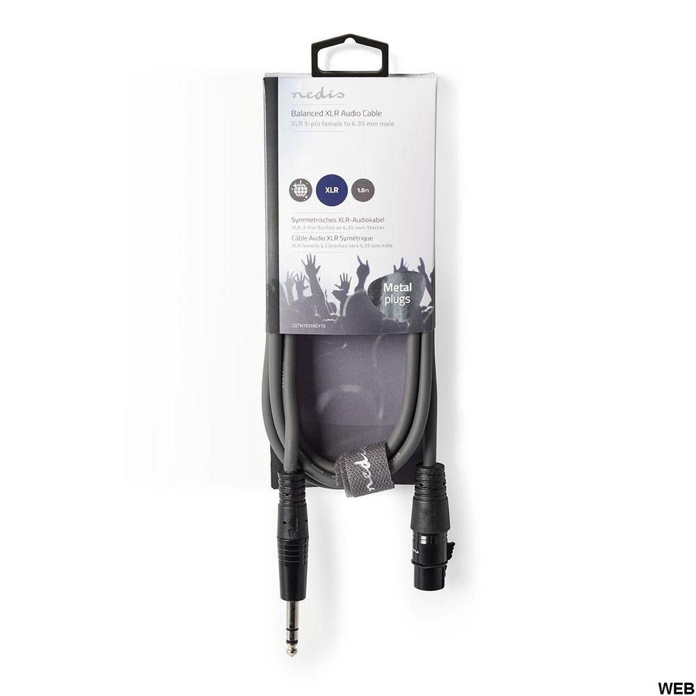 Cavo Audio XLR Bilanciato Femmina a 3 Pin XLR - Maschio da 6,35 mm ND3162 Brand:E[Nedis]