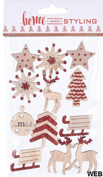 12 Adesivi in legno e glitter rosso KP2110