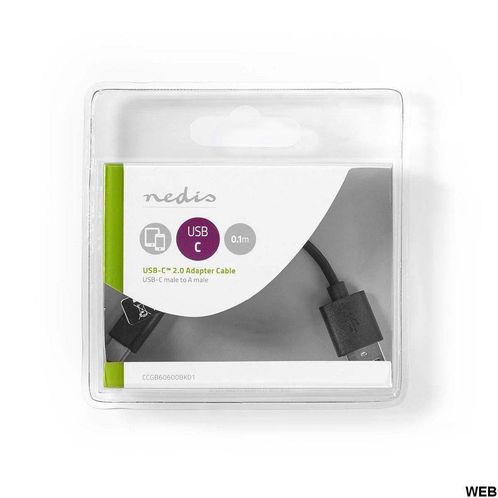 Cavo USB 2.0 Tipo C maschio-A maschio 0.1m Nero ND3792 Nedis