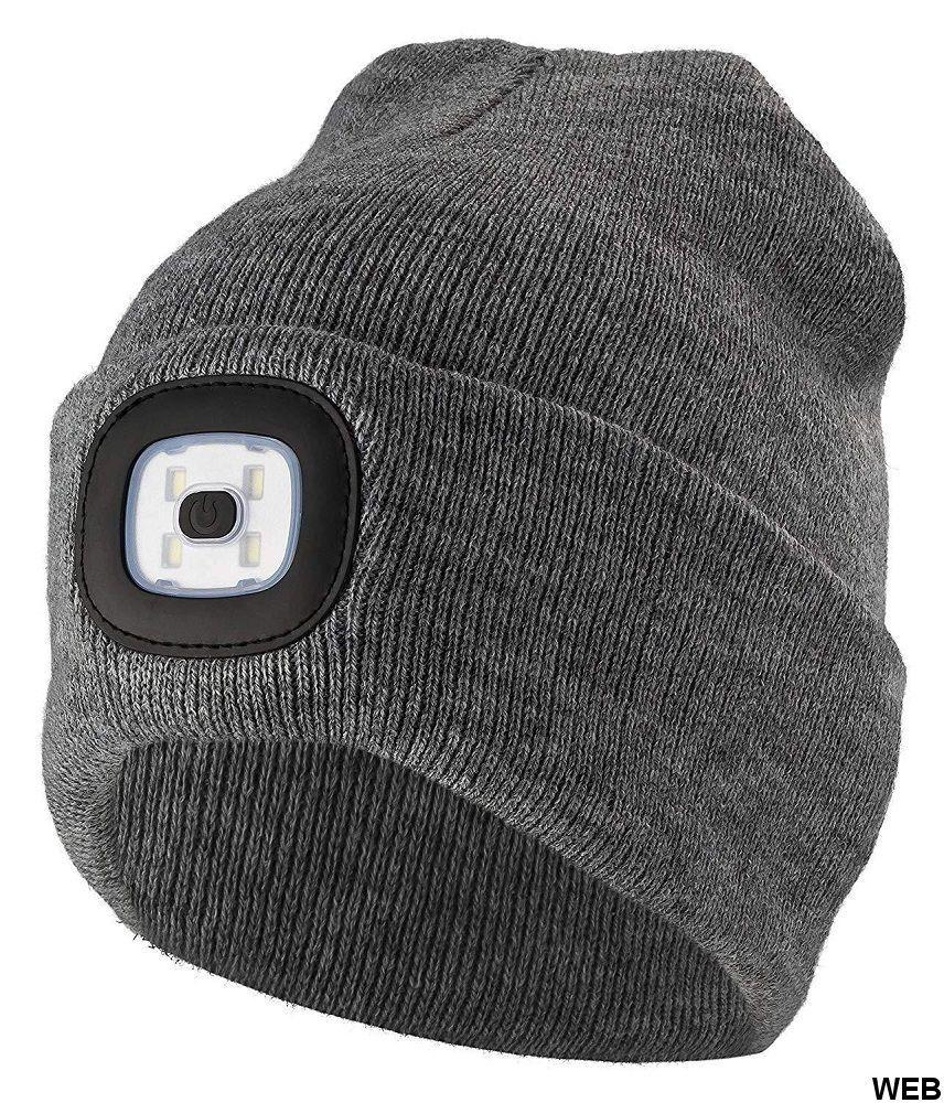 Cappello invernale con lampada frontale a LED rimovibile - Vari colori ED9148