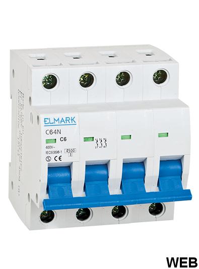 Circuit breaker 6kA 32A 4P curve C Elmark EL3104