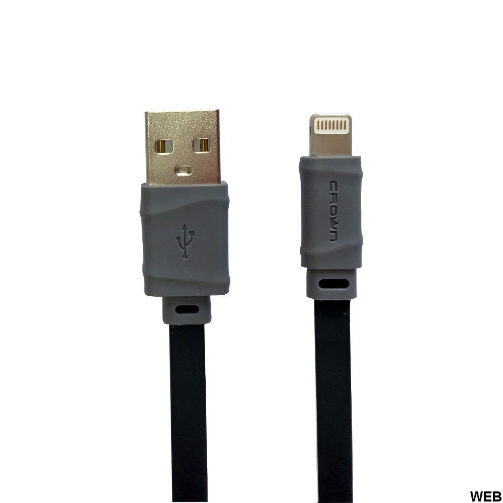 CrownMicro 1m Black / Gray Flat Lightning USB Charging and Synchronization Cable CMCU-006L