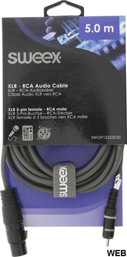 5m 3 pin XLR female - RCA male audio cable Sweex SX457