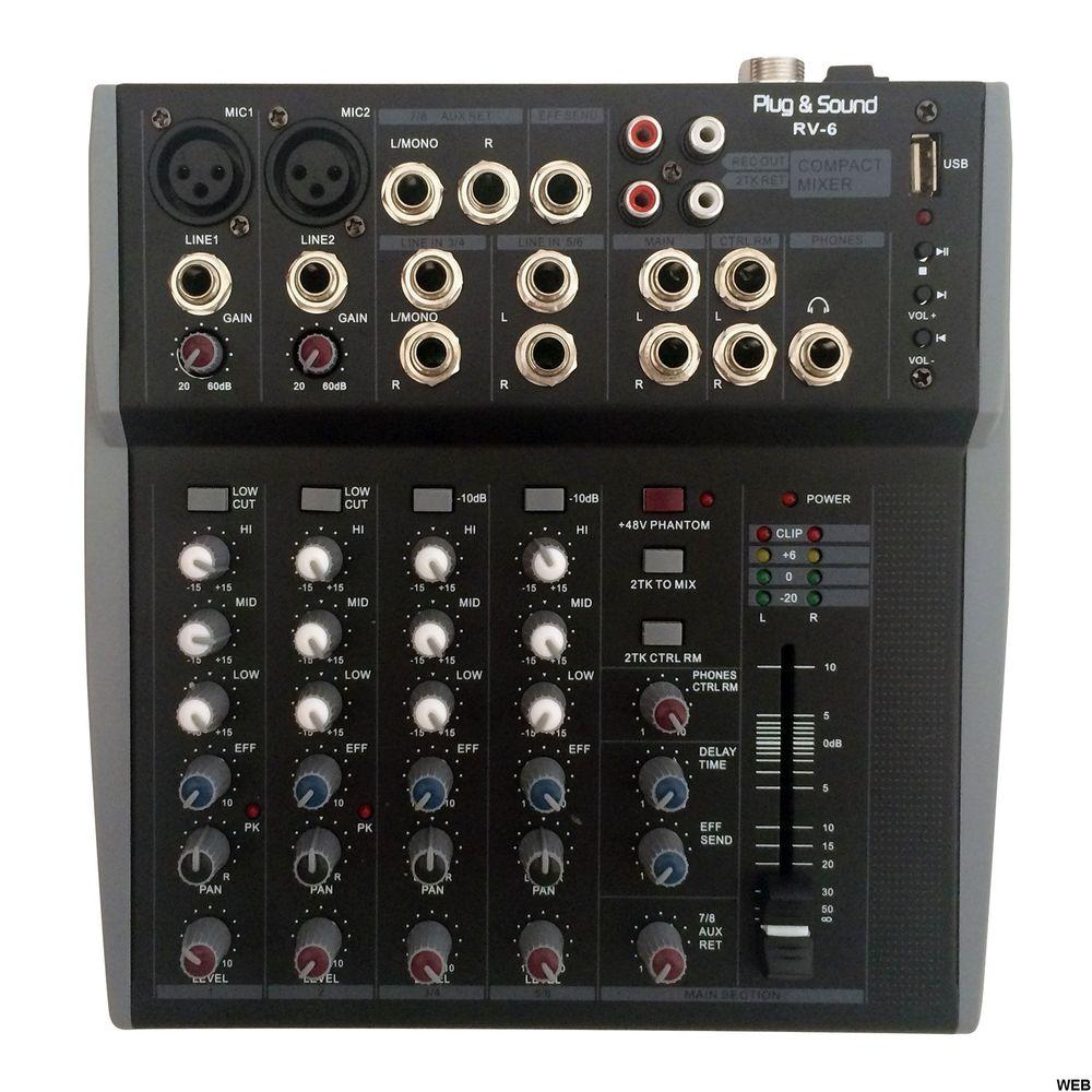 Audio Mixer 8 CH with USB - RV-6 SP050 Plug&Sound