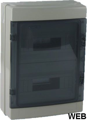 Wall switchboard 24 modules with transparent door EL198 FATO