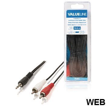 Stereo Audio Cable 3.5 mm Male - 2x RCA Male 10.0 m Black ND9010 Valueline