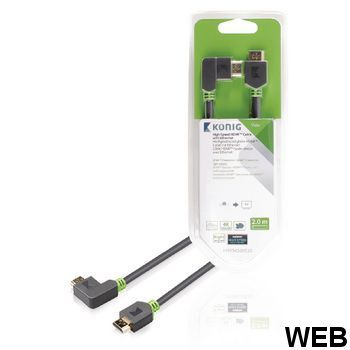 High Speed ??HDMI cable with Ethernet HDMI connector - HDMI connector Right corner 2.00 m Anthracite KNV34260E20 König