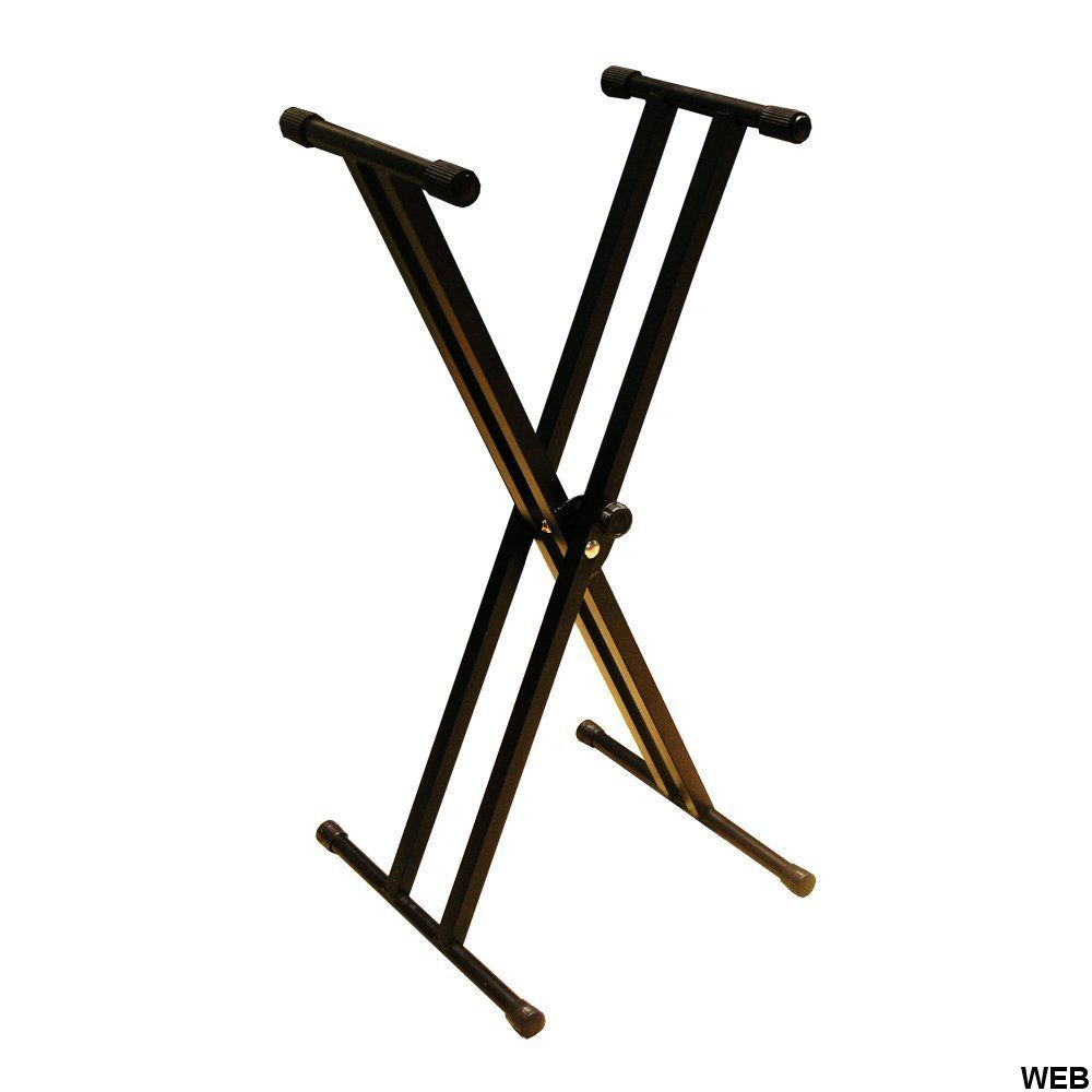 Keyboard stand with double adjustable metal support with hooks X-300